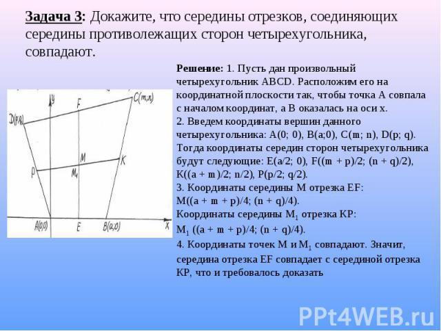 Задача 3: Докажите, что середины отрезков, соединяющих середины противолежащих сторон четырехугольника, совпадают. Решение: 1. Пусть дан произвольный четырехугольник АВСD. Расположим его на координатной плоскости так, чтобы точка А совпала с началом…