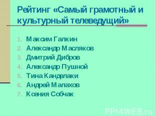 Рейтинг «Самый грамотный и культурный телеведущий» Максим Галкин Александр Масля
