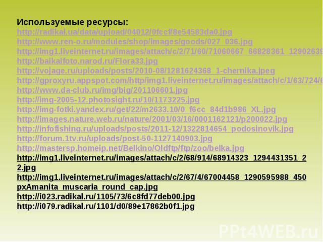 Используемые ресурсы: http://radikal.ua/data/upload/04012/0fccf/8e54583da0.jpg http://www.ren-o.ru/modules/shop/images/goods/027_036.jpg http://img1.liveinternet.ru/images/attach/c/2/71/60/71060667_66828361_1290263960_637088.jpg http://baikalfoto.na…