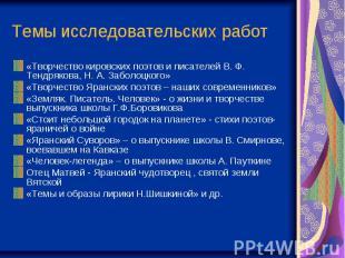 Темы исследовательских работ «Творчество кировских поэтов и писателей В. Ф. Тенд