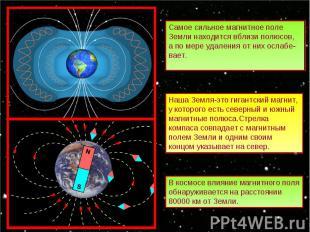 Самое сильное магнитное поле Земли находится вблизи полюсов, а по мере удаления