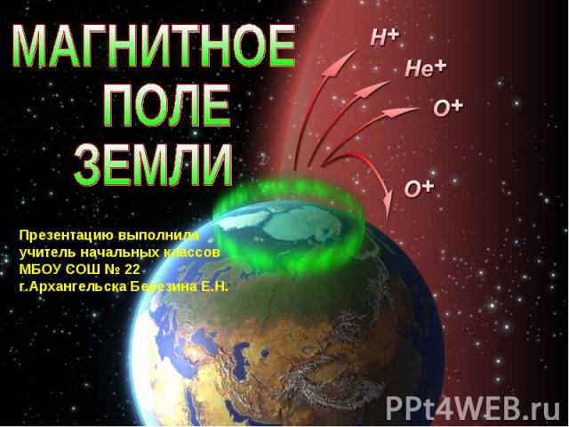 Магнитное поле Земли Презентацию выполнила учитель начальных классов МБОУ СОШ № 22 г.Архангельска Березина Е.Н.
