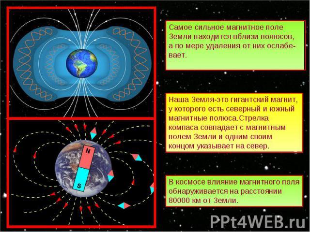 Самое сильное магнитное поле Земли находится вблизи полюсов, а по мере удаления от них ослабе-вает. Наша Земля-это гигантский магнит, у которого есть северный и южный магнитные полюса.Стрелка компаса совпадает с магнитным полем Земли и одним своим к…