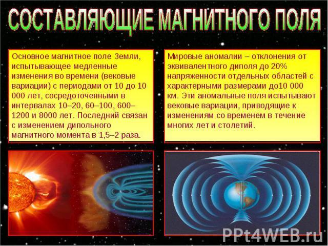 СОСТАВЛЯЮЩИЕ МАГНИТНОГО ПОЛЯ Основное магнитное поле Земли, испытывающее медленные изменения во времени (вековые вариации) с периодами от 10 до 10 000 лет, сосредоточенными в интервалах 10–20, 60–100, 600–1200 и 8000 лет. Последний связан с изменени…