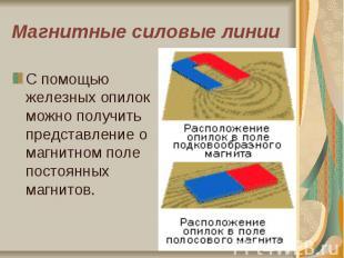 Магнитные силовые линии С помощью железных опилок можно получить представление о
