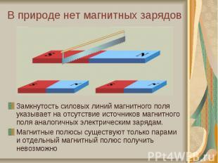 В природе нет магнитных зарядовЗамкнутость силовых линий магнитного поля указыва
