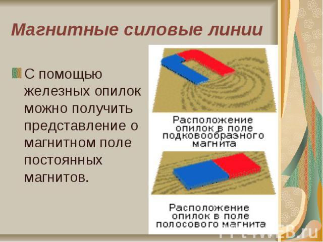 Магнитные силовые линии С помощью железных опилок можно получить представление о магнитном поле постоянных магнитов.