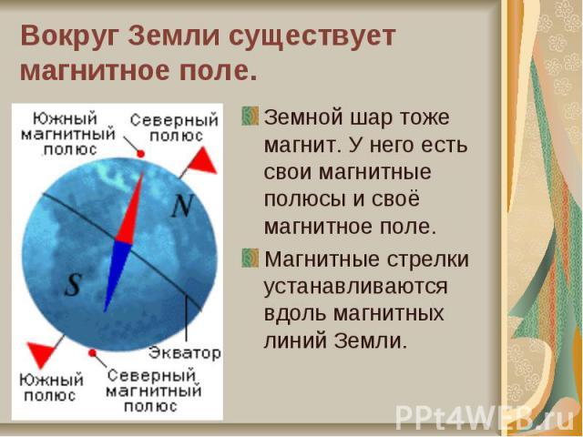 Вокруг Земли существует магнитное поле.Земной шар тоже магнит. У него есть свои магнитные полюсы и своё магнитное поле. Магнитные стрелки устанавливаются вдоль магнитных линий Земли.