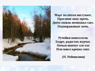 Март на пятки наступает, Прогоняя зиму прочь. Днём снежок немножко тает. Подмора