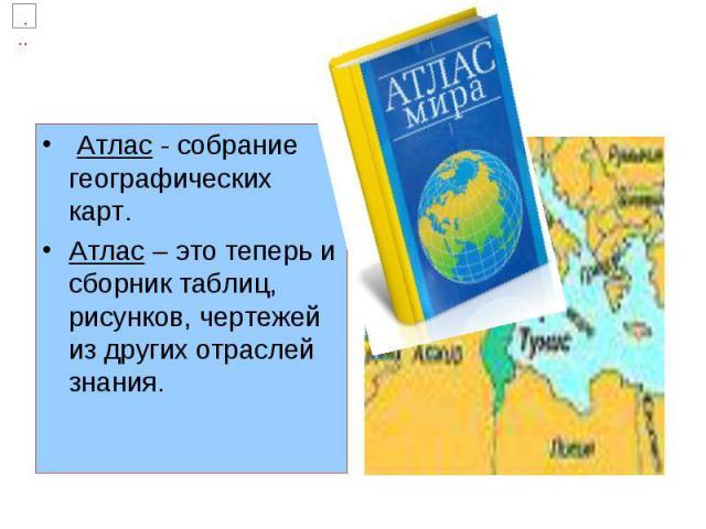 Атлас - собрание географических карт. Атлас – это теперь и сборник таблиц, рисунков, чертежей из других отраслей знания.