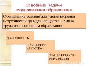 Основные задачи модернизации образования Обеспечение условий для удовлетворения