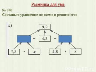 Разминка для ума № 948 Составьте уравнение по схеме и решите его:
