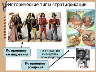 Исторические типы стратификации По принципу наследования По отношению к средства