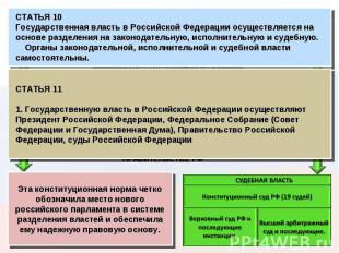 СТАТЬЯ 10 Государственная власть в Российской Федерации осуществляется на основе