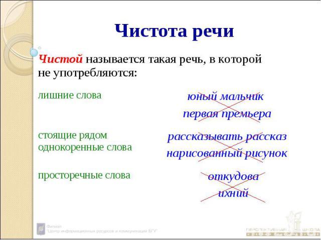 Чистота речиЧистой называется такая речь, в которой не употребляются:
