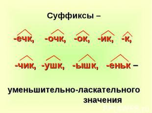 Суффиксы – -ечк, -очк, -ок, -ик, -к, -чик, -ушк, -ышк, -еньк – уменьшительно-лас