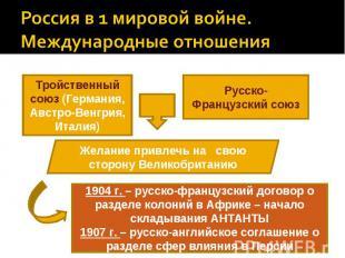 Россия в 1 мировой войне. Международные отношенияТройственный союз (Германия, Ав