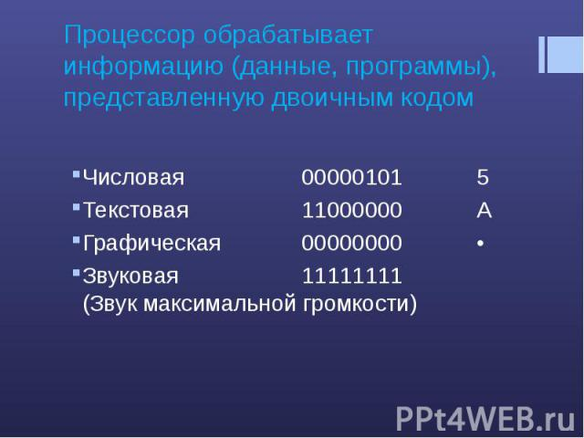 Процессор обрабатывает информацию (данные, программы), представленную двоичным кодомЧисловая 00000101 5 Текстовая 11000000 А Графическая 00000000 • Звуковая 11111111 (Звук максимальной громкости)