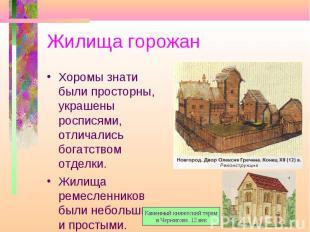 Жилища горожан Хоромы знати были просторны, украшены росписями, отличались богат