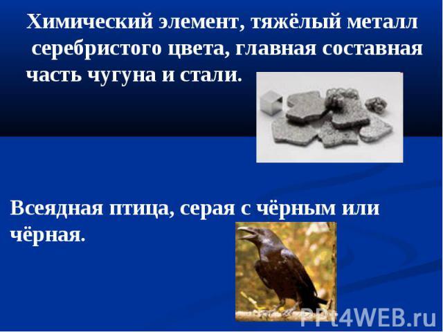 Химический элемент, тяжёлый металл серебристого цвета, главная составная часть чугуна и стали. Всеядная птица, серая с чёрным или чёрная.