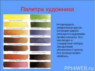 Палитра художника Четырнадцать акварельных красок, которыми широко пользуются ху