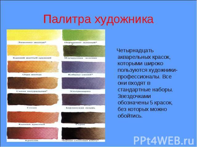 Палитра художника Четырнадцать акварельных красок, которыми широко пользуются художники-профессионалы. Все они входят в стандартные наборы. Звездочками обозначены 5 красок, без которых можно обойтись.