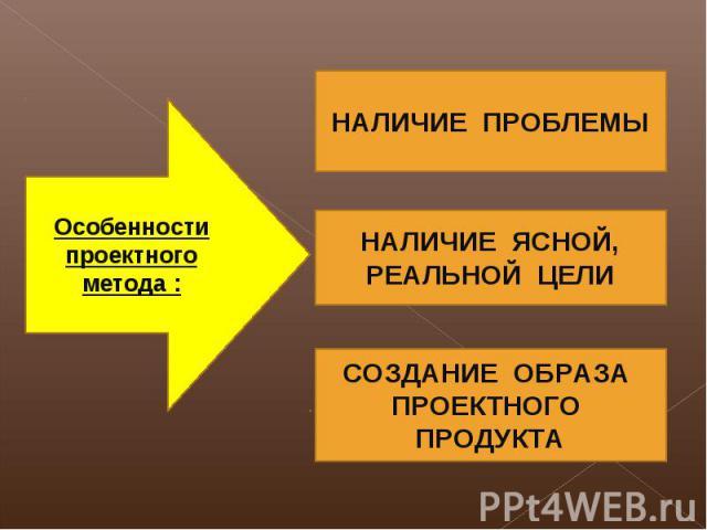 Особенности проектного метода : НАЛИЧИЕ ПРОБЛЕМЫ НАЛИЧИЕ ЯСНОЙ, РЕАЛЬНОЙ ЦЕЛИ СОЗДАНИЕ ОБРАЗА ПРОЕКТНОГО ПРОДУКТА