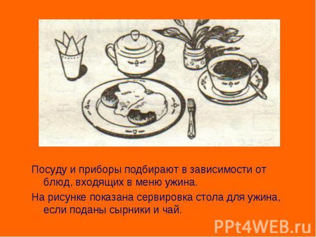 Посуду и приборы подбирают в зависимости от блюд, входящих в меню ужина. На рисунке показана сервировка стола для ужина, если поданы сырники и чай.