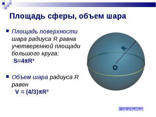 Площадь сферы, объем шара Площадь поверхности шара радиуса R равна учетверенной