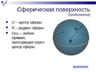 Сферическая поверхность (продолжение) O – центр сферы R – радиус сферы Ось – люб