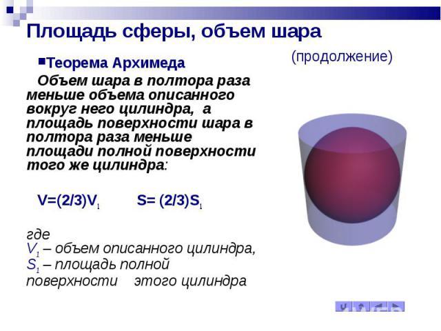 Площадь сферы, объем шара (продолжение) Теорема Архимеда Объем шара в полтора раза меньше объема описанного вокруг него цилиндра, а площадь поверхности шара в полтора раза меньше площади полной поверхности того же цилиндра: V= (2/3)V1 S= (2/3)S1 где…