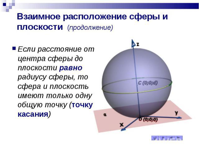 Взаимное расположение сферы и плоскости (продолжение) Если расстояние от центра сферы до плоскости равно радиусу сферы, то сфера и плоскость имеют только одну общую точку (точку касания)