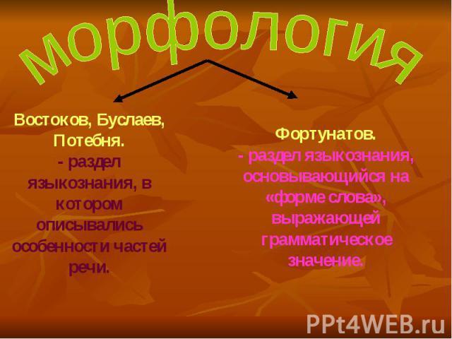 морфология Востоков, Буслаев, Потебня. - раздел языкознания, в котором описывались особенности частей речи. Фортунатов. - раздел языкознания, основывающийся на «форме слова», выражающей грамматическое значение.