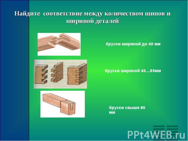 Найдите соответствие между количеством шипов и шириной деталей бруски шириной до 40 мм бруски шириной 40…80мм бруски свыше 80 мм