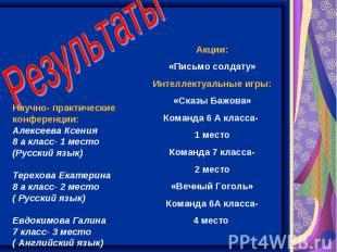 Результаты Научно- практические конференции: Алексеева Ксения 8 а класс- 1 место