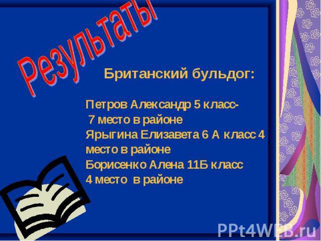 Результаты Британский бульдог: Петров Александр 5 класс- 7 место в районе Ярыгина Елизавета 6 А класс 4 место в районе Борисенко Алена 11Б класс 4 место в районе