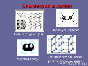 Симметрия в химии Полипептидные цепи Молекула этилена Молекулы воды Ионная крист