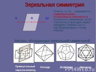 Зеркальная симметрия Точки А и А1 называются симметричными относительно плоскост