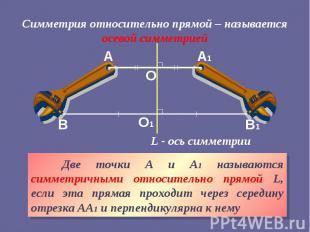 Симметрия относительно прямой – называется осевой симметрией Две точки А и А1 на