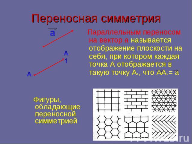 Переносная симметрия Параллельным переносом на вектор а называется отображение плоскости на себя, при котором каждая точка А отображается в такую точку А1 , что АА1 = а Фигуры, обладающие переносной симметрией: