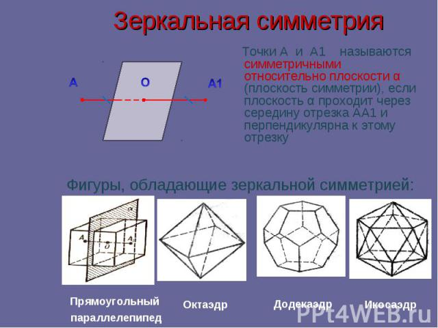 Зеркальная симметрия Точки А и А1 называются симметричными относительно плоскости α (плоскость симметрии), если плоскость α проходит через середину отрезка АА1 и перпендикулярна к этому отрезку Фигуры, обладающие зеркальной симметрией: