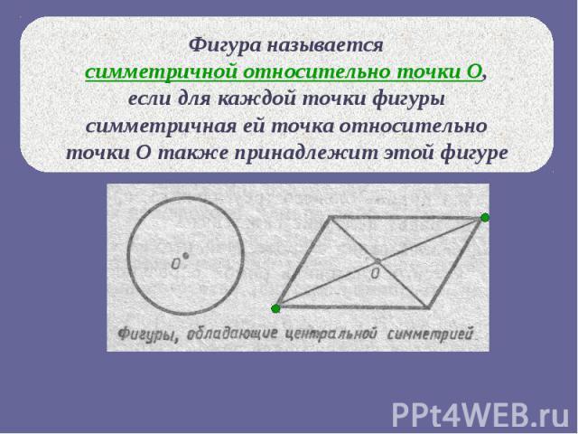 Фигура называется симметричной относительно точки О, если для каждой точки фигуры симметричная ей точка относительно точки О также принадлежит этой фигуре