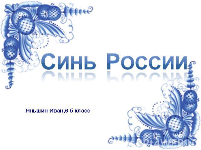 Синь России Яньшин Иван,6 б класс