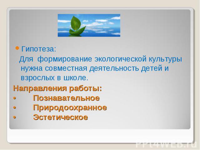 Гипотеза: Для формирование экологической культуры нужна совместная деятельность детей и взрослых в школе. Направления работы: • Познавательное • Природоохранное • Эстетическое