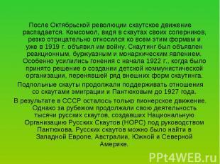 После Октябрьской революции скаутское движение распадается. Комсомол, видя в ска