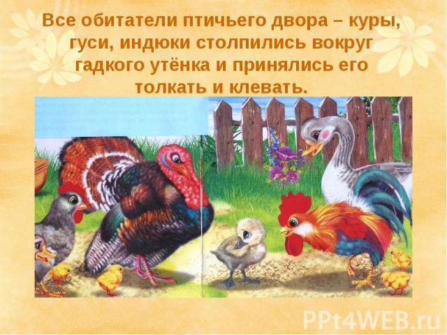 Все обитатели птичьего двора – куры, гуси, индюки столпились вокруг гадкого утёнка и принялись его толкать и клевать.