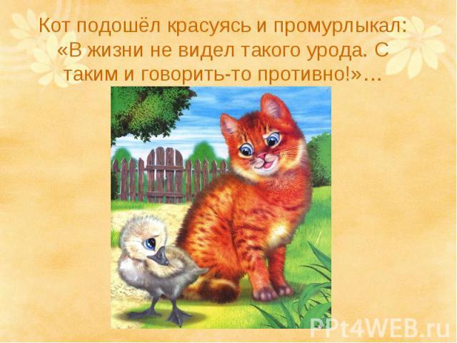 Кот подошёл красуясь и промурлыкал: «В жизни не видел такого урода. С таким и говорить-то противно!»…