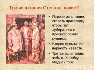 Три испытания Степана: какие? Первое испытание: сказать приказчику, чтобы тот «у