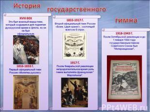 XVIII век Это был военный марш-гимн, который создавался для поднятия духа русско