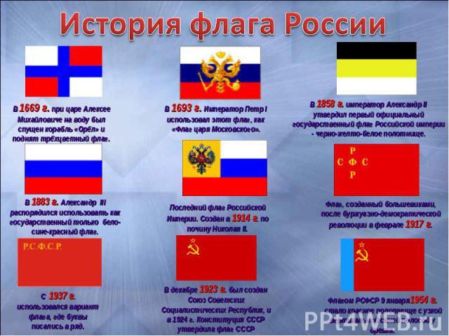 История флага РоссииВ 1669 г. при царе Алексее Михайловиче на воду был спущен корабль «Орёл» и поднят трёхцветный флаг. В 1693 г. Император Петр I использовал этот флаг, как «Флаг царя Московского». В 1858 г. император Александр II утвердил первый о…